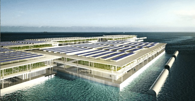 The multistory design incorporates vertical farming, hydroponics, aquaculture and renewable energy to produce year-round food. Photo Credit: Forward Thinking Architecture