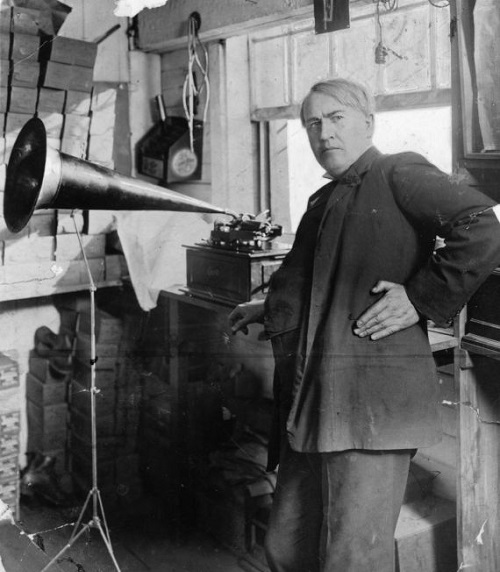 Inventor Thomas Edison (1847 - 1931) with the first phonograph, one of his inventions.    (Photo by Keystone/Getty Images)