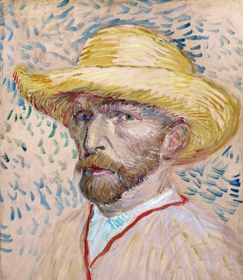Painted self-portrait with straw hat. By Vincent Van Gogh. 1887, Oil on canvas. (Photo by: Universal History Archive/UIG via Getty Images)