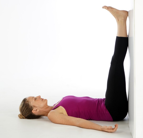 Legs up the wall, a passive pose.